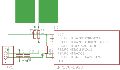 Tiny13_touch schematic